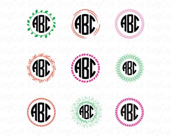 25 Monogram frames Svg - Vector frames - Digital frame clipart - Cutting machine vector frame - Modern svg designs - DXF PNG SVG