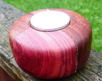 Segmented purple heart and mahogany tea light holder