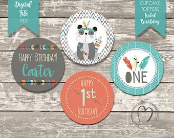 TRIBAL/WILD First Birthday Custom Cupcake Toppers/ Boy First Birthday/Orange,Turquoise,Grey/DIY Printable Cupcake Toppers/Birthday Decor