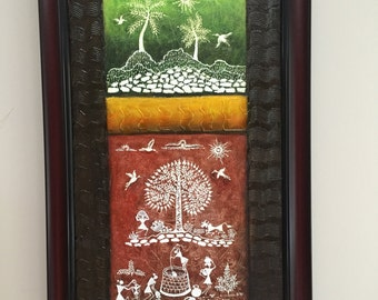 Original Warli Art painting by our shop's own Artisan -Acrylic on Canvas in Green, Orange & Brown on a Brown background ideal Christmas gift