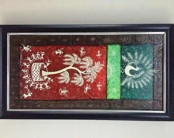 Original Warli Art painting by our shop's own Artisan - Acrylic on Canvas in Green, Green and Red on a Brown background ideal Christmas gift