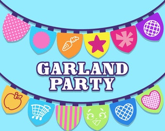 Shopkins Market Garland Party - 12 pdf files letter size and 12 png files 300 dpi