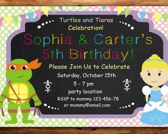 tmnt and Princess Invitation, ninja turtles and Princess Birthday Invitation, Twins Birthday Invitation, Personalized -DIGITAL FILE(rt)
