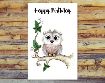 Owl Birthday Card, Printable Cards, Happy Birthday, Digital Download, Blank Cards, Printable Greeting Cards, Pencil Art, Instant Download