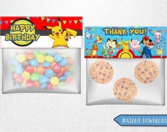 Pokemon bag toppers, Pokemon favor bags, Pokemon treat bag toppers, Pokemon party favor!