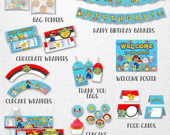 Pokemon bundle, Pokemon party pack, Pokemon party bundle, Pokemon party supplies! Instant download!