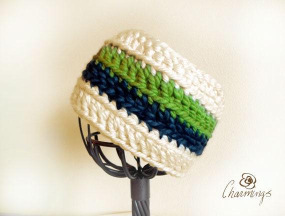 HEADBAND- Seahawks Retro Stripe Crochet Headband, Ear Warmer, Ear Cozy, Ear Gator, Football, Team Color, Sport Fan Apparel, NFL