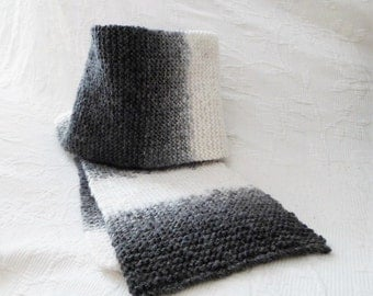 Black wool scarf, gray and white knitted by hand