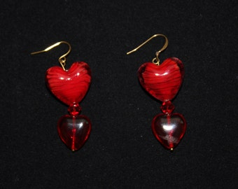 Large Red Heart Romantic Earrings