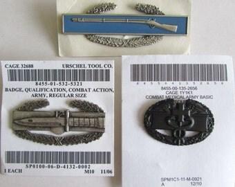 Rare Lot/Set 3 pcs USA Army Military badges - Combat Infantryman/Medical/Action