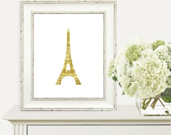 SALE - Gold Eiffel Tower Print - Paris Print - Printable Art - Modern Wall Art - Instant Download - Home Decor - Eiffel Tower - Wall Decor