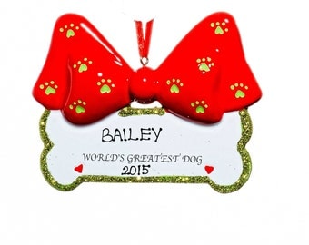 """Dog Bone """"World's Greatest Dog"""" Personalized Christmas Ornament- Free Gift Bag Included!"""