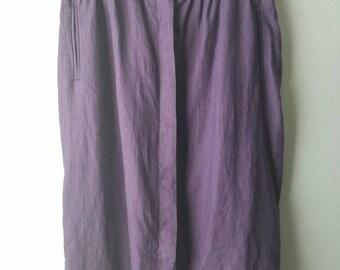 Vintage DVF Diane Von Furstenberg / eggplant / 100% linen / skirt / sz 10 / women's / designer