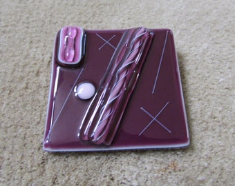 Laurie Collection vintage Art to Wear fused glass brooch in purple and pink OOAK