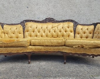 Vintage Hollywood Regency Sofa - Ornate Carved Wood Antique Victorian Couch - Ready for customization and upholstery of your choice!