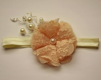 Vintage Cream Flower Headband 13.5 inches