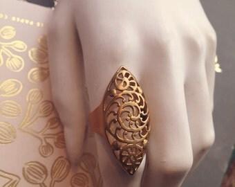 Shell spiral brass ring