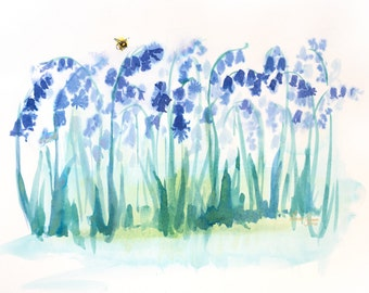 Ink Bluebells & Bee