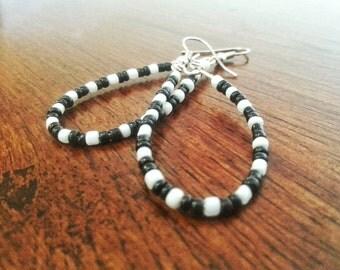Black and White Beaded Hoop Earrings