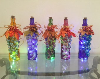 Fall glass decor bottle with LED lights