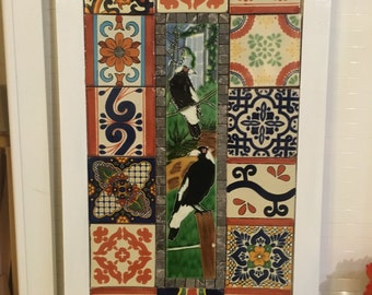 Australian Bird Tile and Hand Made Mexican Tile Wall Art