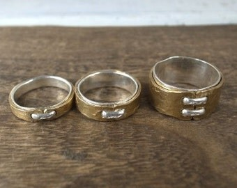 Hammered Brass Ring with Silver 925 Stitch