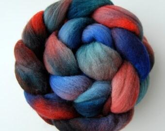 Hand dyed MERINO wool roving spinning felting fibre, 100g/3.5oz