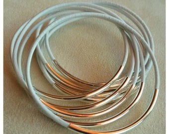 Silver Tube Leather Bangles (Set of 5)