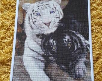 Rhinestone painting two Tigers