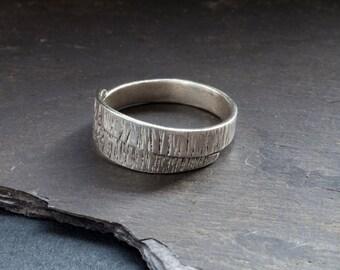 Textured wraparound silver ring