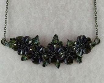Brass Flower Crystal Collar Necklace