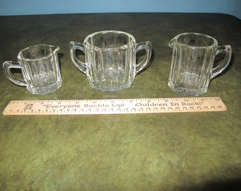 """2 Creamers and Open Sugar bowl in """"165"""" by Indiana Glass *Shipping Included*"""