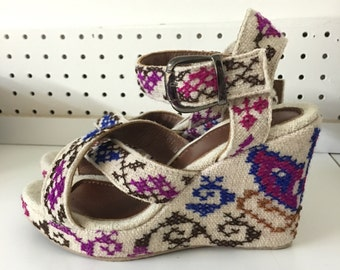 Hand Embroidered Floral Wedges