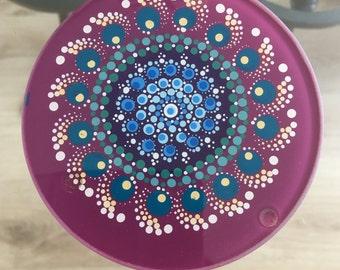 Mandala Dot Art Glass Coaster