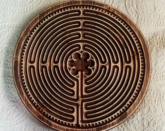 XL Labyrinth Woodcarved Large Round Rustic Finger Labyrinth