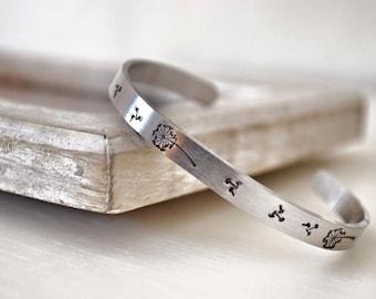 FREE DELIVERY Aluminium dandelion hand stamped cuff