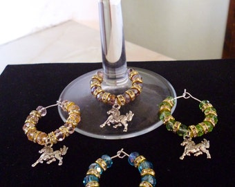 Handmade Rondell Crystal & Horse Wine Glass Charms - any colour