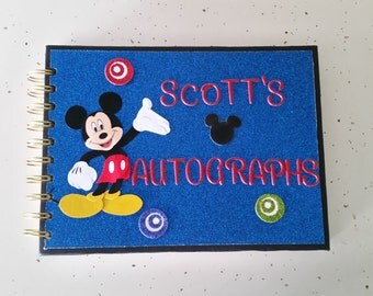 Disney Autograph Book, Personalized Mickey Mouse Autograph Book, Disney Keepsake Book