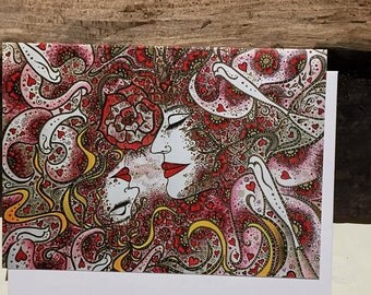 Entwined.....The Lovers, A dance of Souls. Original Art card