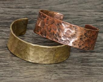Hammered brass bracelet.