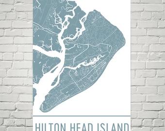 Hilton Head Island Map Art Print, Hilton Head SC Art Poster, Hilton Head Wall Art, Hilton Head Island Gift, Birthday, Decor, Modern, Art