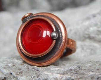 Copper ring Magic ring Red ring Stained glass ring Custom ring Steampunk ring For girlfriend For her Gift for beloved Solar system ring