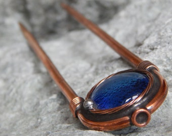 Blue hair pin Copper hair pin Hair stick Wire wrapped pin Hair holder Boho wedding pin Hair jewelry For mom For her Steampunk hairpin