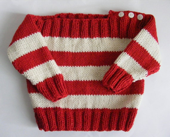 Handmade Knitted Baby Jumper, Red and White
