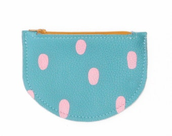 Seaside Circus - leather Coin Purse - Blue & Dots
