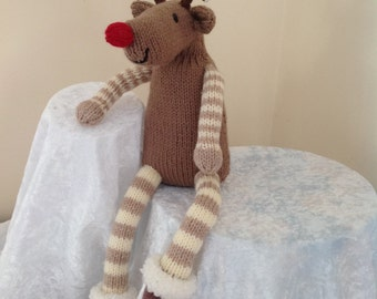 hand knitted Reindeer -Dasher, Christmas ornament or toy