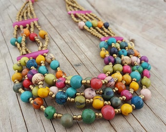 Acai & Chonta Seed Necklace Multicolor made in Ecuador. Ecuador Jewelry