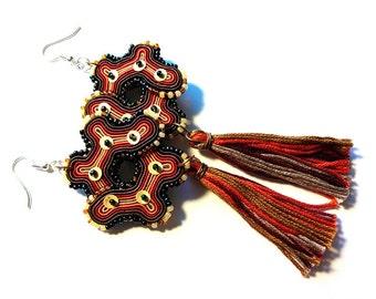 Steampunk soutache earrings
