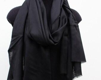 Silk Cashmere Scarf - Black