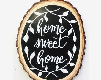 Original Home Sweet Home Handmade Hand Lettered Wall Decor Plaque